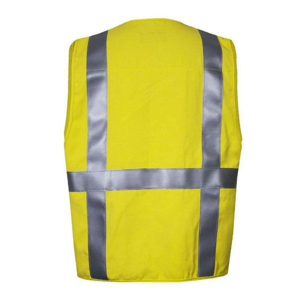 NSA FR Class 2 Hi Vis Yellow Moisture Wicking Electricians Survey Vest VNT99375 Back