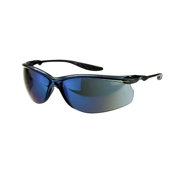 Crossfire 24Seven Crystal Black Frame Blue Mirror Lens Safety Glasses 3748 - Box of 12