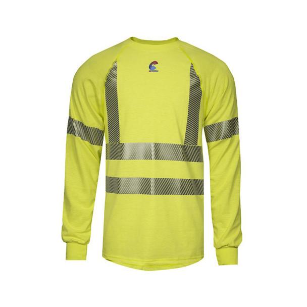 NSA FR Class 3 Hi Vis Moisture Wicking Made in USA Long Sleeve T-Shirt BSTJTRLSC3