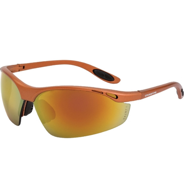 Crossfire Talon Copper Half-Frame Red Mirror Lens Safety Sunglasses 119 - Box of 12