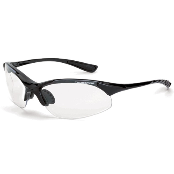 Crossfire XCBR Shiny Black Half-Frame Clear Lens Safety Glasses 1524 - Box of 12