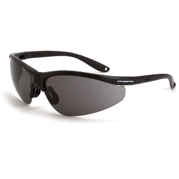 Crossfire Brigade Matte Black Half-Frame Smoke Lens Safety Glasses 1731 - Box of 12