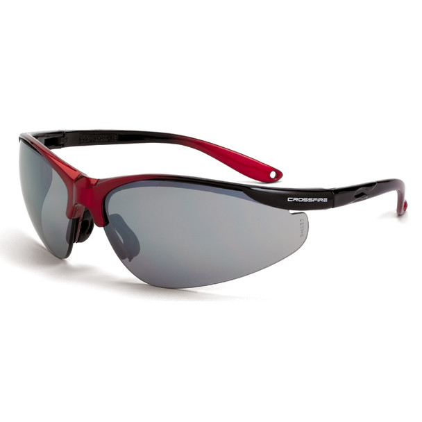 Crossfire Brigade Shiny Black Red Half-Frame Silver Mirror Lens Safety Glasses 1733 - Box of 12