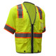 GSS Class 3 Hi Vis Lime Two Tone Mesh Vest with 6 Pockets 2701 Left Side