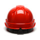 Box of 16 Pyramex Ridgeline Cap Style 6-Point Ratchet Hard Hats HP46120 Red Back