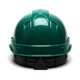 Box of 16 Pyramex Ridgeline Cap Style 6-Point Ratchet Hard Hats HP46135 Green Back
