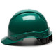 Box of 16 Pyramex Ridgeline Cap Style 6-Point Ratchet Hard Hats HP46135 Green Side Profile