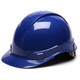Box of 16 Pyramex Ridgeline Cap Style 6-Point Ratchet Hard Hats HP46160 Blue Front Angled
