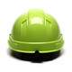 Box of 16 Pyramex Hi Vis Ridgeline Cap Style 6-Point Ratchet Hard Hats HP46131 Hi Vis Lime Back