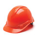 Box of 16 Pyramex Hi Vis Ridgeline Cap Style 6-Point Ratchet Hard Hats HP46141 Hi Vis Orange Front Angled