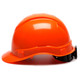 Box of 16 Pyramex Hi Vis Ridgeline Cap Style 6-Point Ratchet Hard Hats HP46141 Hi Vis Orange Side Profile