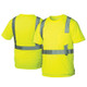 Pyramex Class 2 Hi Vis Lime Moisture Wicking T-Shirt with Chest Pocket RTS2110 Front/Back