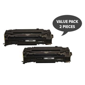 HP Compatible 2 x CE255A #55A Black Generic Toner