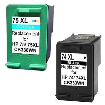 HP Compatible 74XL Compatible Inkjet Cartridge Set #1 2 Cartridges