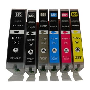 PGI-650XL CLI-651XL Compatible Inkjet  Set 6 Cartridges [Boxed Set]