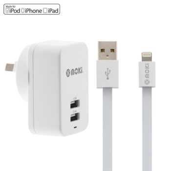 MOKI Lightning Syncharge Cable + Wall (Apple Licenced)