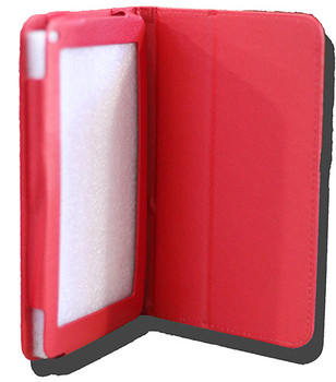 LeaderTab10Q Folio Case Red Faux Leather. Camera hole rear