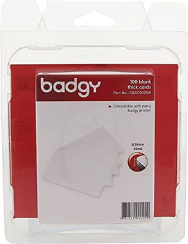 """BADGY 100 X THICK Plastic Polyvinyl Chloride (PVC) cards. (0.76MM-30MIL) Printable, Media thickness: 1.18"""". Includes 100 cards. Color White."""