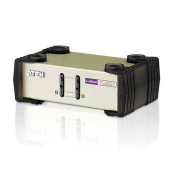 Aten 2 Port USB & PS/2 VGA KVM Switch, Video DynaSync, mouse and keyboard emulation, 2 VGA USB and PS/2 KVM Cables included