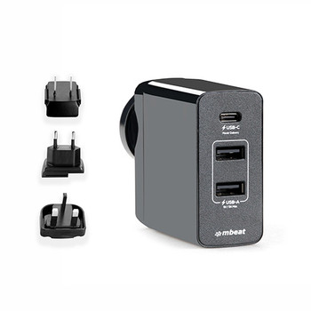 mbeat Gorilla Power 45W USB-C Power Delivery (PD 2.0) and Dual USB-A World Travel Charger