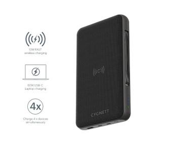 CYGNETT 27000 mAh USB-C Laptop and Wireless Power Bank - Black