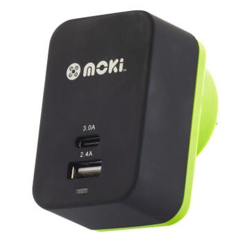 MOKI Wall Charger + (Type-C + USB) 3.0 RapidCharge - Black