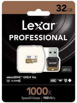 LEXAR Professional 1000x 32GB microSDHC UHS-II Card - Up to 150MB/s Read/90MBs Write/ UHS-II Card Adapter/ U3 C10 V60/ 1080p HD/3D/4K Video (LS)