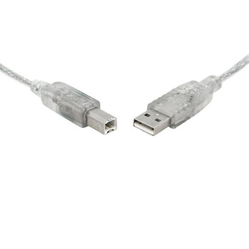 8WARE Printer Cable USB 2.0 Cable 2m A to B Transparent Metal Sheath UL Approved