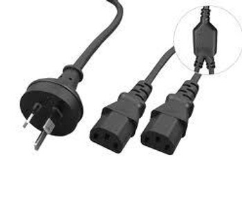 CABAC 2m 10amp Y Split Power Cable with AU/NZ 3-pin Male Plug 2xIEC F C13 Socket & Cord for PC & Monitor to Wall Power Socket Retail Packaging LS