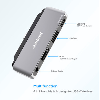 MBEAT Elite Mini 4-In-1 USB-C Mobile Hub for iPad Pro, USB-C Tablet & Laptop/Notebook