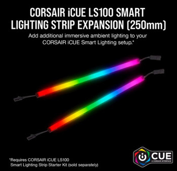CORSAIR iCUE LS100 Smart Lighting Strip Expansion Kit -2x 250mm Addressable LED Strip, RGB Ext Cable, Adhesive Tape, Cable Clips s