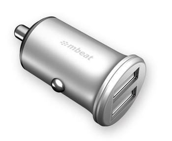 MBEAT Power Dot Pro Dual port 4.8A Rapid Car Charger - 24W/Metallic Design/Fast Charging Mobile Apple iPhone iPad Samsung Galaxy Hauwei HTC Google
