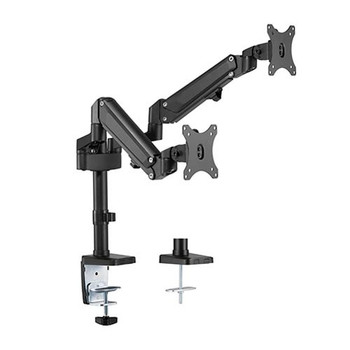BRATECK Dual Monitors Heavy-Duty Aluminum Gas Spring Monitor Arm Fit Most 17''-32'' Up to 12kg per screen