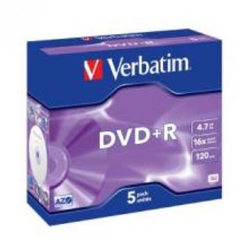 VERBATIM DVD+R 16X Jewel 5pk 4.7GB