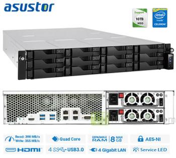 ASUSTOR AS6212RD 24 Bay 2U Rack NAS Intel Celeron Quad-Core 1.6GHz 4GB DDR3L 512MB DOM 12xSATA3 3.5'/2.5' HDD/SSD RAID 4xUSB3.0 4xGbE HDMI AES 256Bit