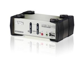ATEN Desktop KVMP Switch 2 Port Single Display VGA w/ audio & OSD, 2x Custom KVM Cables Included, 2x USB Port, Selection Via Front Panel