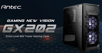 Antec GX202 ATX, Side Window, 2x White LED,  Mesh Air Intake, Cable management. Black Gaming Case
