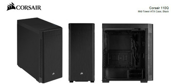 Corsair 110Q ATX Silent Sound Dampening, 1x 5.25' ODD, 2x 2.5' SSD, 2x 3.5' HDD. PSU 180mm. USB 3.0 x 2.  Case. 2 Years Warranty