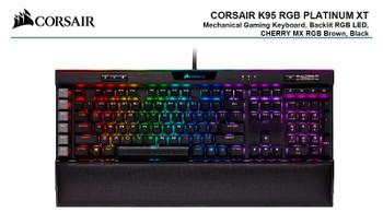Corsair K95 RGB PLATINUM XT, Cherry MX Brown, Dynamic Per-Key RGB Backlighting with 19-Zone LightEdge, Mechanical Gaming Keyboard