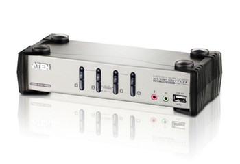 Aten Desktop KVMP Switch 4 Port Single Display VGA w/ audio & OSD, 4x Custom KVM Cables Included, 2x USB Port, Selection Via Front Panel