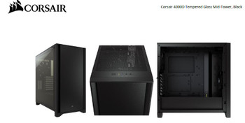 CORSAIR Carbide Series 4000D Solid Steel Front ATX Tempered Glass Black, 2x 120mm Fans pre-installed. USB 3.0 x 2, Audio I/O. Case