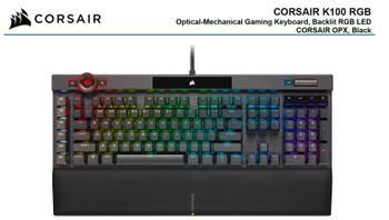CORSAIR K100 RGB, Cherry Corsair OPX Switch, AXON 44-Zone RGB, PBT Double-Shot Keycaps, Black,  Mechanical Gaming Keyboard
