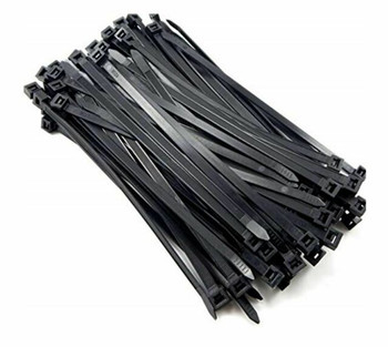 CABAC 200mm x 2.5mm (4') Bag of 100 Pack UV Resistant Wide Nylon Zip Cable Ties Black ~CT196BK-LD