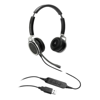 GRANDSTREAM GUV3005 Premium Dual Ear USB Headset, Busy Light, Noise Canceling Microphone, HD Audio, 2m USB Cable, Suits Teams, Zoom, 3CX