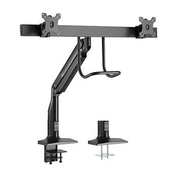 BRATECK Dual Monitors Select Gas Spring Aluminum Monitor Arm Fit Most 17'-35' Monitors Up to 10kg per screen VESA 75x75/100x100