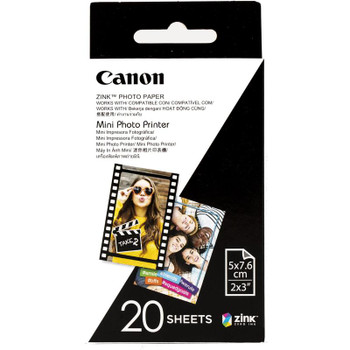 Canon Zink Mini Photo Printer Paper for Canon Inspic (20 Sheets) 2 X 3 Inches