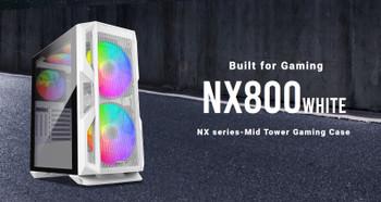 ANTEC NX800 White E-ATX, ATX 2x 20CM ARGB Front, 1x12CM ARGB Rear, 2x 14CM ARGB Top,Tempered Glass, Built-in LED Controller. Mesh Front ETA Nov