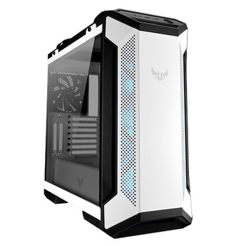 ASUS GT501 TUF GAMING CASE White ATX Mid Tower Case With Handle, Supports EATX, Tempered Glass Panel, 4 Pre-Installed Fans 3x120mm RBG 1x140mm PWN