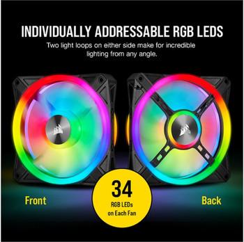 CORSAIR QL120 RGB White Triple Fan Kit with Lighting Node Core, ICUE,  Low Noise 120mm Fan Blade, RGB LED PWM Fan 26dBA, 41.8 CFM, 3 Fan Pack.