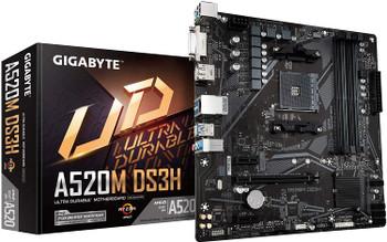 GIGABYTE A520M-DS3H AMD mATX MB 4xDDR4 1xDP 1xHDMI 1xDVI 1xM.2 PCIE 3.0